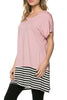 Short Sleeve Knit Tunic W/ Striped Hem - BodiLove | 30% Off First Order  - 15
