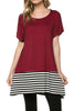 Short Sleeve Knit Tunic W/ Striped Hem - BodiLove | 30% Off First Order  - 16