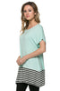 Short Sleeve Knit Tunic W/ Striped Hem - BodiLove | 30% Off First Order  - 35