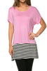 Short Sleeve Knit Tunic W/ Striped Hem - BodiLove | 30% Off First Order  - 37