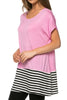 Short Sleeve Knit Tunic W/ Striped Hem - BodiLove | 30% Off First Order  - 39
