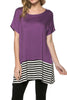 Short Sleeve Knit Tunic W/ Striped Hem - BodiLove | 30% Off First Order  - 40