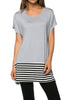 Short Sleeve Knit Tunic W/ Striped Hem - BodiLove | 30% Off First Order  - 46