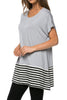 Short Sleeve Knit Tunic W/ Striped Hem - BodiLove | 30% Off First Order  - 48