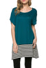 Short Sleeve Knit Tunic W/ Striped Hem - BodiLove | 30% Off First Order  - 49