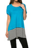 Short Sleeve Knit Tunic W/ Striped Hem - BodiLove | 30% Off First Order  - 52