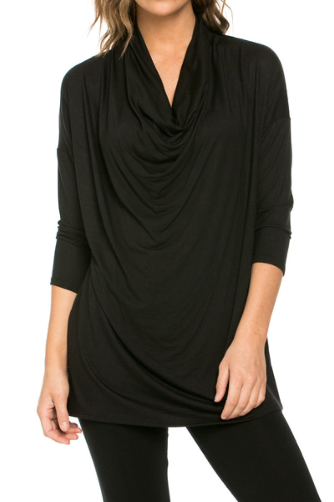 3/4 Sleeve Draped Cowl Neck Top - BodiLove | 30% Off First Order  - 1