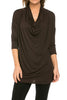 3/4 Sleeve Draped Cowl Neck Top - BodiLove | 30% Off First Order  - 5