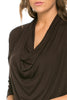 3/4 Sleeve Draped Cowl Neck Top - BodiLove | 30% Off First Order  - 8