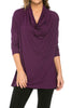 3/4 Sleeve Draped Cowl Neck Top - BodiLove | 30% Off First Order  - 9