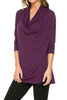 3/4 Sleeve Draped Cowl Neck Top - BodiLove | 30% Off First Order  - 11