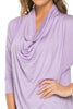 3/4 Sleeve Draped Cowl Neck Top - BodiLove | 30% Off First Order  - 16