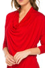 3/4 Sleeve Draped Cowl Neck Top - BodiLove | 30% Off First Order  - 28