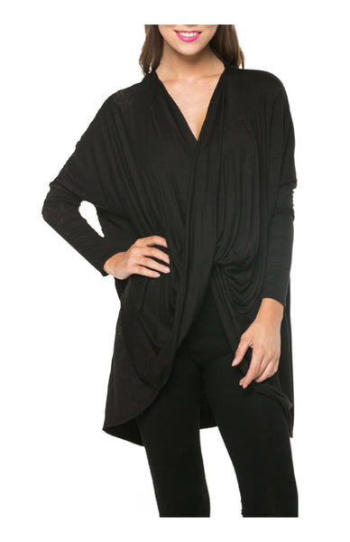 Long Sleeve Draped Criss Cross Front Top - BodiLove | 30% Off First Order  - 1