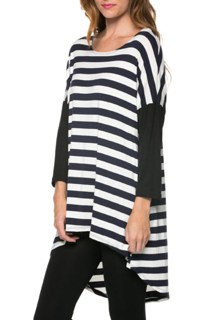 Multicolored 3/4 Dolman Sleeve Hi-Low Tunic - BodiLove | 30% Off First Order  - 2