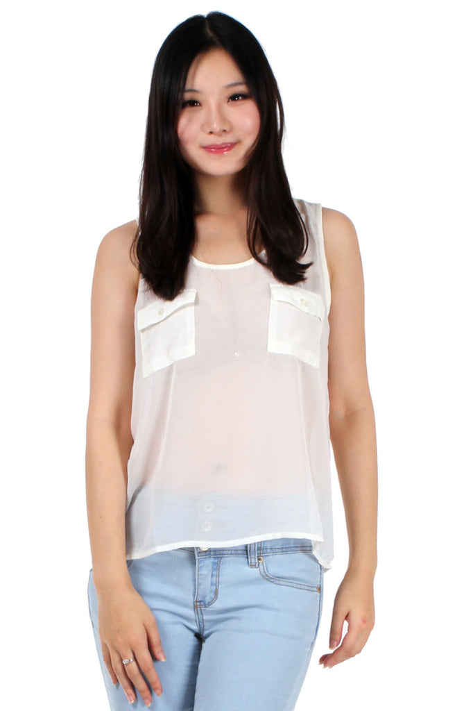 Accent Pocket Sheer Chiffon Top | 30% Off First Order | Ivory