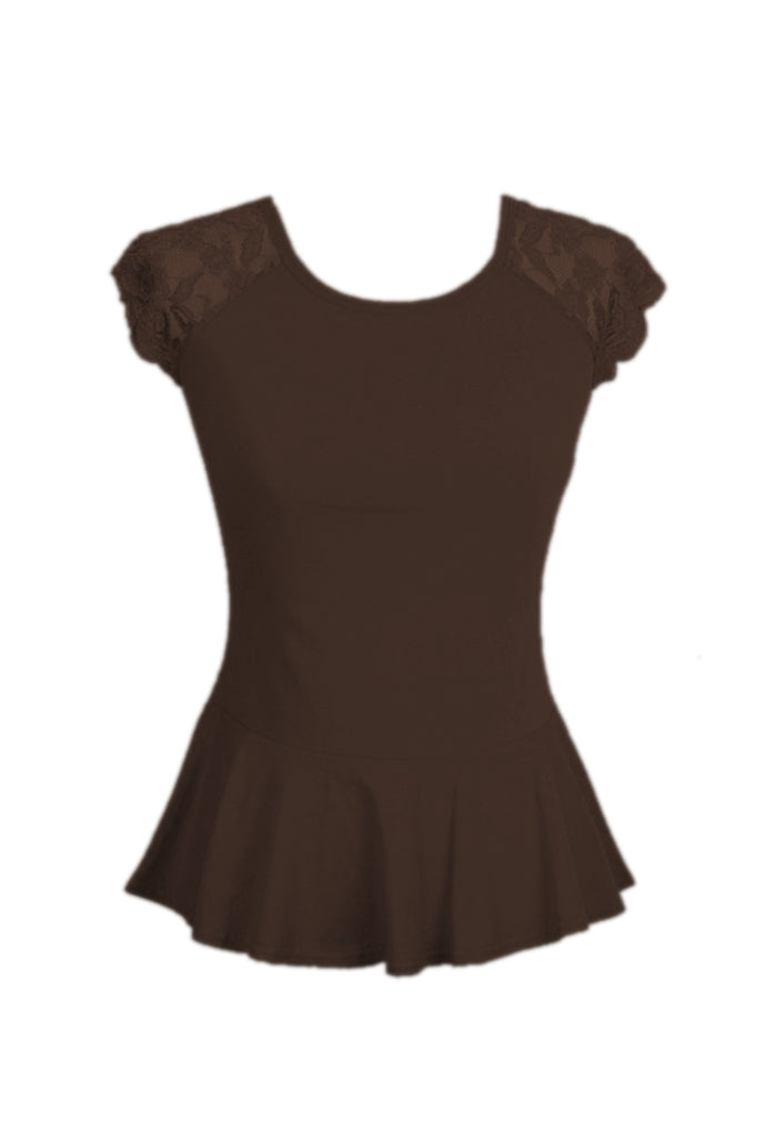 Lace Cap Sleeve Peplum Top | 30% Off First Order | Mocha
