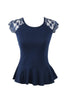 Lace Cap Sleeve Peplum Top | 30% Off First Order | Navy