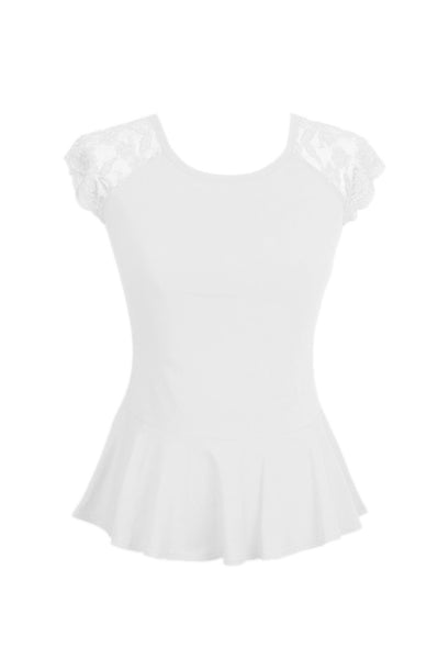 Lace Cap Sleeve Peplum Top | 30% Off First Order | White