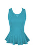 Sleeveless Peplum Top W/ Sheer Lace Back | 30% Off First Order | Bright Blue