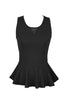 Sleeveless Peplum Top W/ Sheer Lace Back | 30% Off First Order | Black