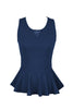 Sleeveless Peplum Top W/ Sheer Lace Back | 30% Off First Order | Navy
