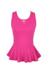 Sleeveless Peplum Top W/ Sheer Lace Back | 30% Off First Order | Fuchsia