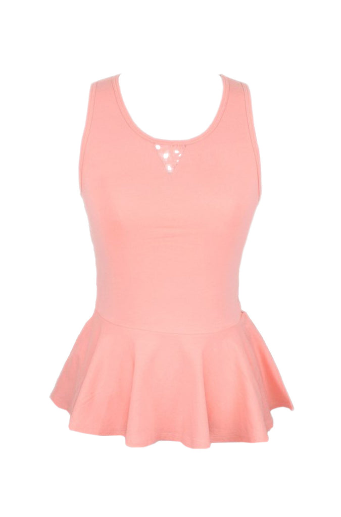 Sleeveless Peplum Top W/ Sheer Lace Back | 30% Off First Order | Light Pink