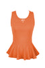 Sleeveless Peplum Top W/ Sheer Lace Back | 30% Off First Order | Orange