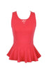 Sleeveless Peplum Top W/ Sheer Lace Back | 30% Off First Order | Red