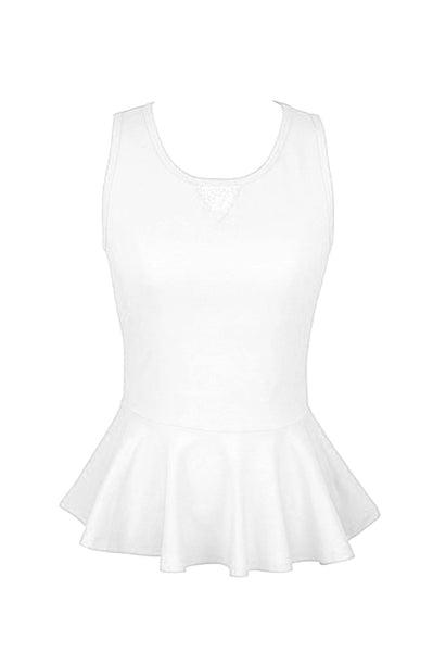 Sleeveless Peplum Top W/ Sheer Lace Back | 30% Off First Order | White