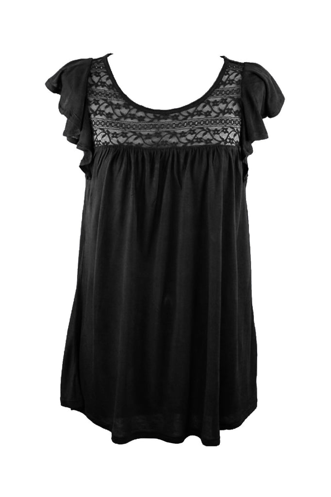 Flutter Cap Sleeve Top W/ Sheer Lace Yoke | 30% Off First Order | Black
