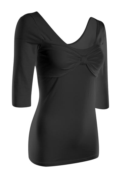 3/4 Sleeve Knit Top W/ Front Bow Detail | 30% Off First Order | Black