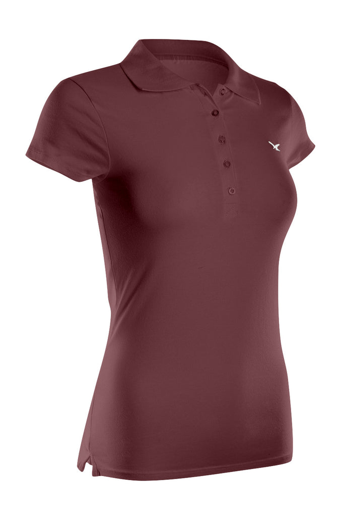 Cap Sleeve 5 Button Collared Polo Shirt | 30% Off First Order | Burgundy