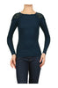 Long Sleeve Thermal Top W/ Crochet Lace Trim | 30% Off First Order | Navy