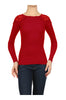 Long Sleeve Thermal Top W/ Crochet Lace Trim | 30% Off First Order | Red