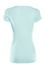 Casual Cap Sleeve Fitted V-Neck T-Shirt | 30% Off First Order | Aqua