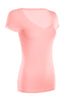 Casual Cap Sleeve Fitted V-Neck T-Shirt | 30% Off First Order | Light Pink