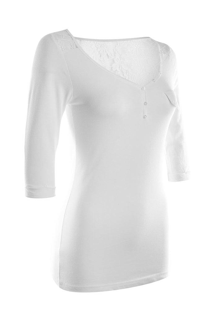 3/4 Sleeve Henley Top W/ Sheer Lace Trim | 30% Off First Order | White