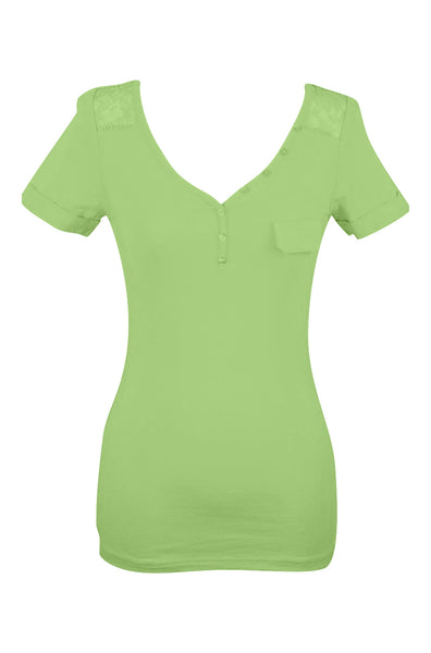 Short Sleeve Henley Top W/ Sheer Lace Trim | 30% Off First Order | Bright Green