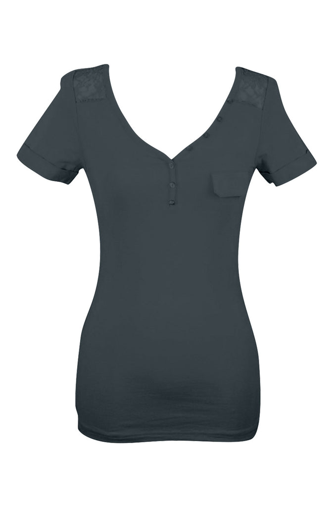 Short Sleeve Henley Top W/ Sheer Lace Trim | 30% Off First Order | Navy