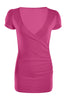 Short Sleeve Wrap Front Knit Top | 30% Off First Order | Hot Pink