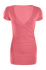 Short Sleeve Wrap Front Knit Top | 30% Off First Order | Coral1
