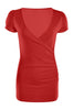 Short Sleeve Wrap Front Knit Top | 30% Off First Order | Red1