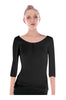 3/4 Sleeve Henley Top W/ Sheer Lace Trim | 30% Off First Order | Black1