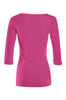 3/4 Sleeve Henley Top W/ Sheer Lace Trim | 30% Off First Order | Hot Pink