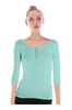 3/4 Sleeve Henley Top W/ Sheer Lace Trim | 30% Off First Order | Light Green