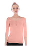 3/4 Sleeve Henley Top W/ Sheer Lace Trim | 30% Off First Order | Light Pink