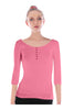 3/4 Sleeve Henley Top W/ Sheer Lace Trim | 30% Off First Order | Coral1