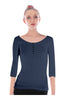 3/4 Sleeve Henley Top W/ Sheer Lace Trim | 30% Off First Order | Navy1